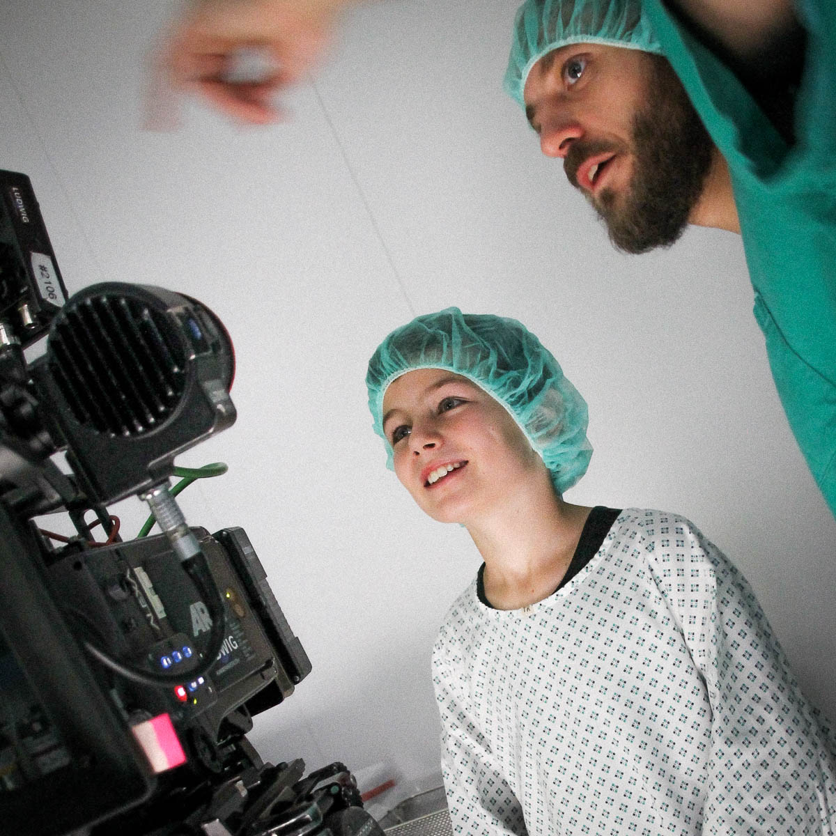 Protagonist and director in scrubs image film St. Hedwig